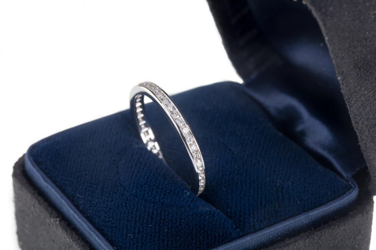 Round Cut 0.40 Carat Tiffany & Co. Platinum Diamond Wedding Band with Box For Sale
