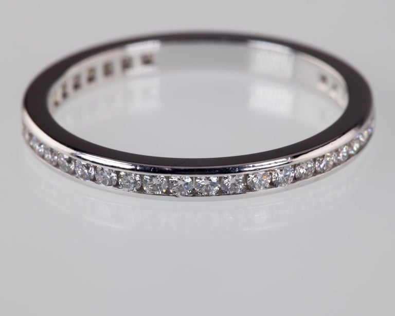 Women's 0.40 Carat Tiffany & Co. Platinum Diamond Wedding Band with Box For Sale