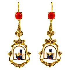0.40 Carat White Diamond Mediterranean Red Coral Enamel Yellow Gold Earrings
