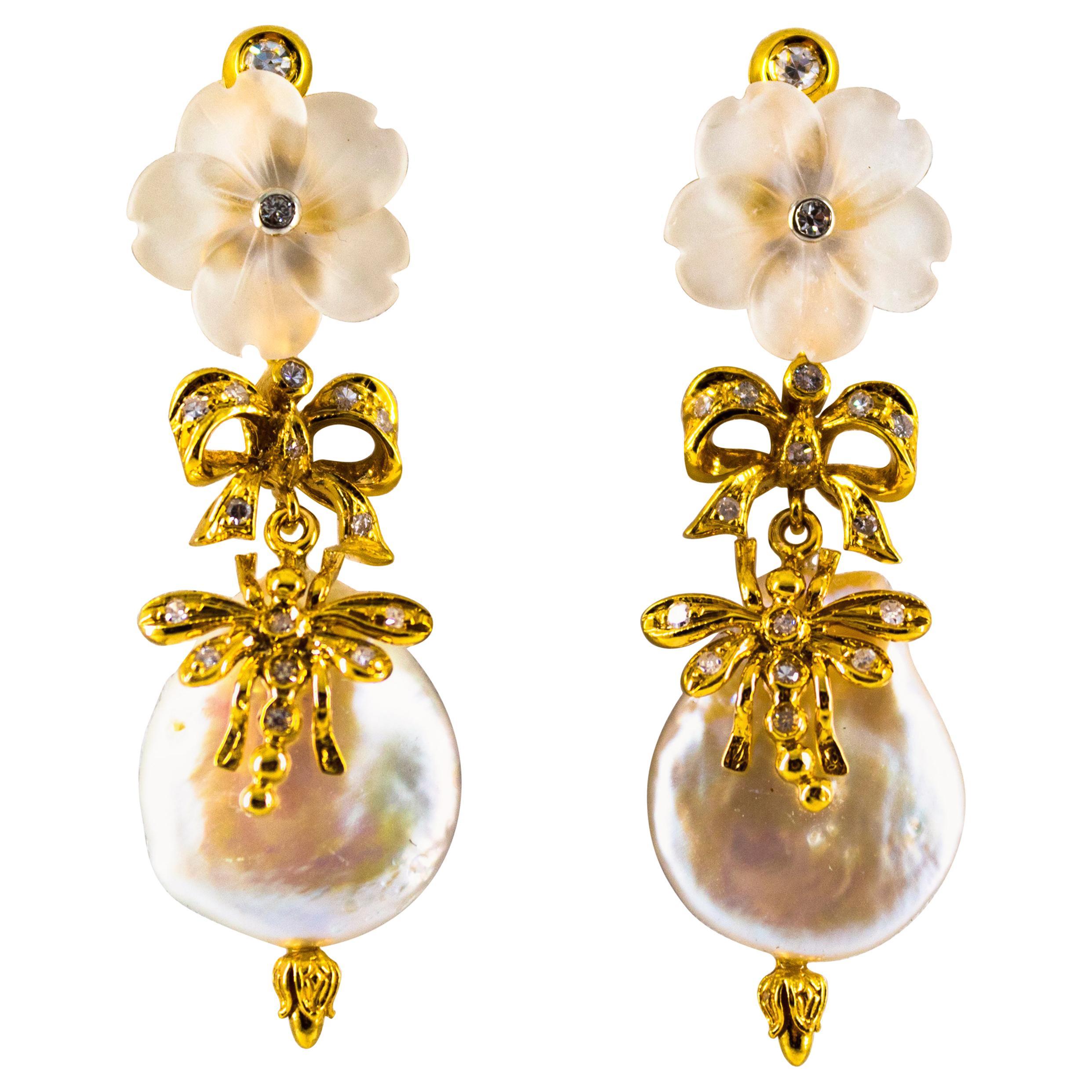 0.40 Carat White Diamond Rock Crystal Pearl Yellow Gold Drop Stud Earrings