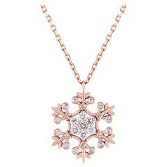 0.40 Carats Diamond & Rose Gold Snowflake Pendant Chain Necklace