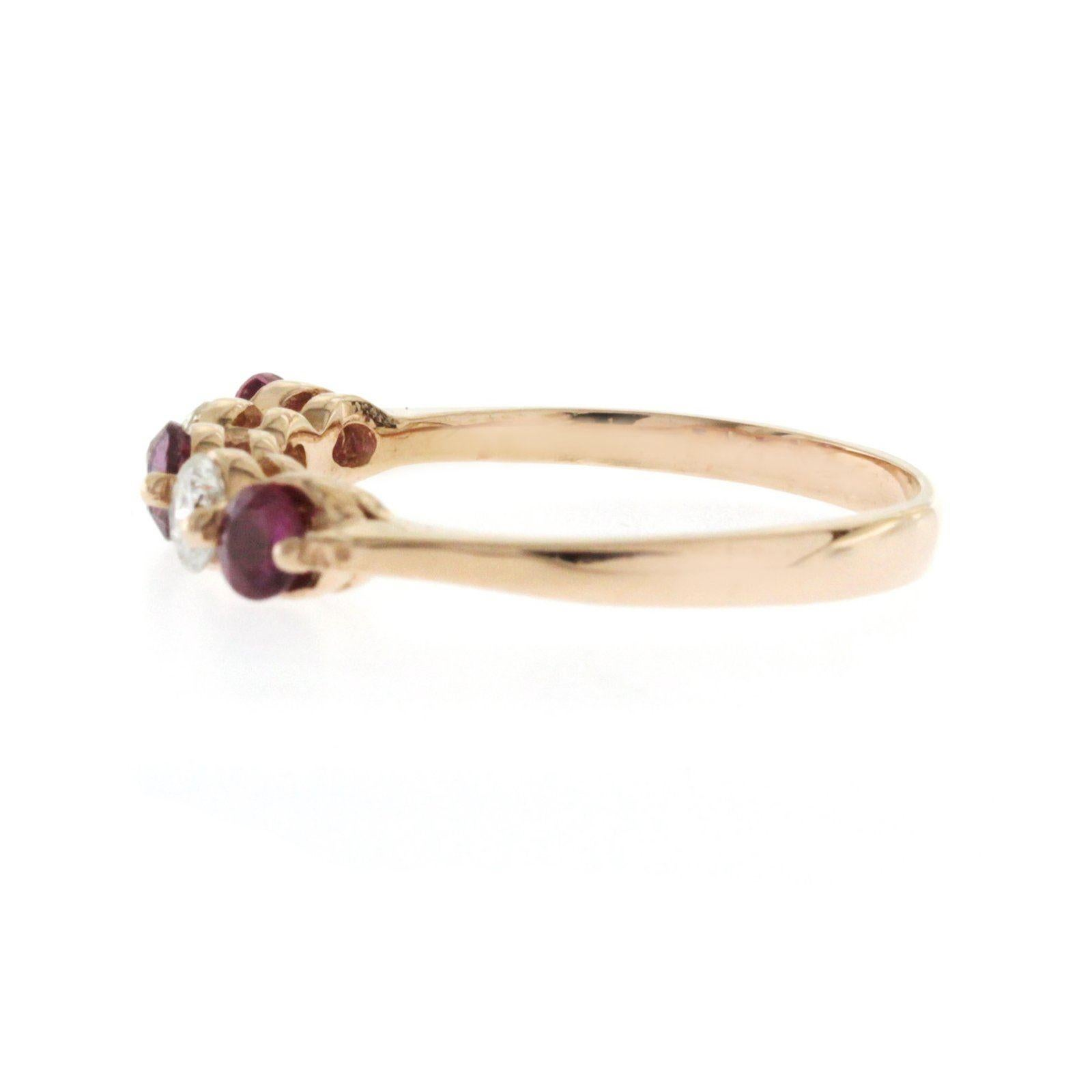 2585726569d52f 0.40 Ct Pink Sapphire and 0.30 Ct Diamonds In 14k Rose Gold Wedding Band  Ring For Sale at 1stdibs