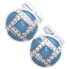 0.40 Karat White Diamond Hand Inlaid Blue Chalcedony White Gold T-Bar Cufflinks