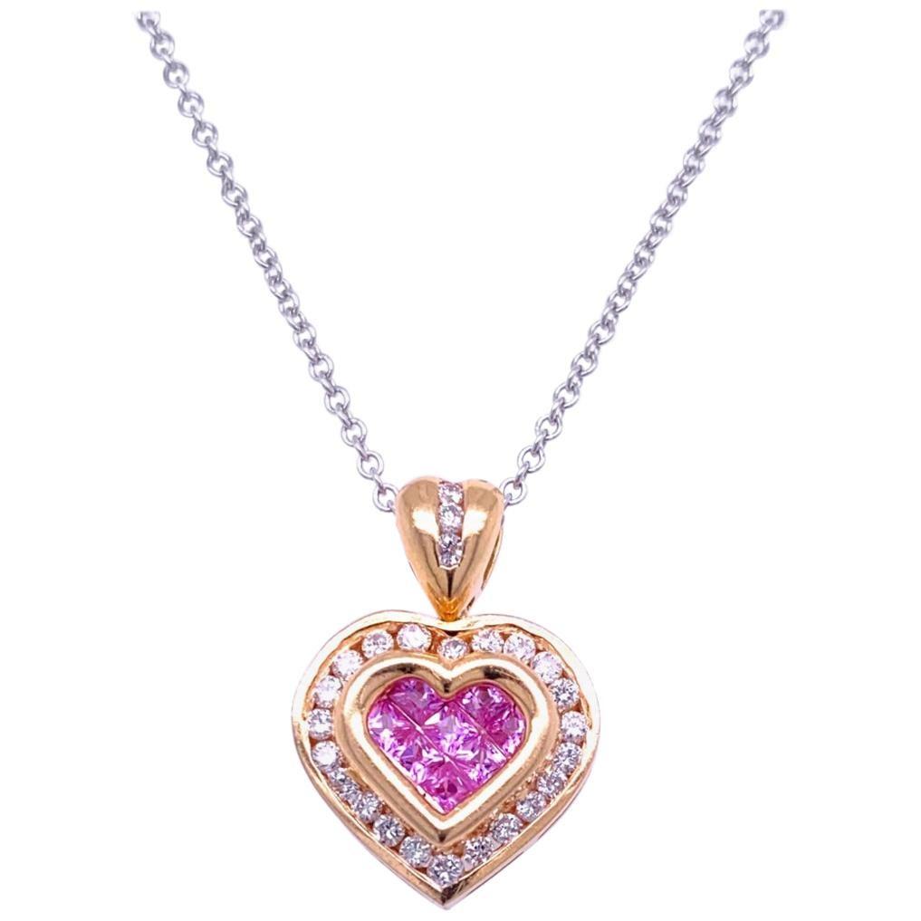 0.41 Carat Diamond/0.41 Carat Pink Sapphire 18K Gold Hearts Pendant Necklace