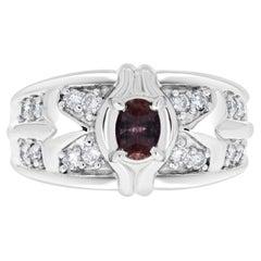 0.41ct Alexandrite Rings with 0.33tct Diamonds Set in Platinum 900