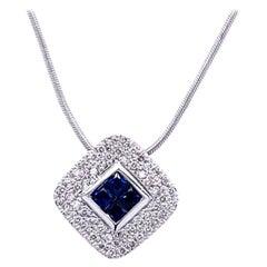 0.42 Carat Diamond/0.46 Carat Blue Sapphire 18 Karat Gold Pendant Necklace