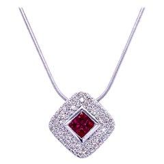 0.42 Carat Diamond/0.46 Carat Ruby 18 Karat Gold Pendant Necklace