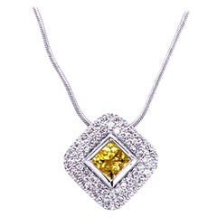 0.42 Carat Diamond/0.46 Carat Yellow Sapphire 18 Karat Gold Pendant Necklace