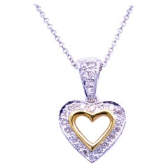 0.42 Carat Diamond 18 Karat Gold Hearts Pendant Necklace