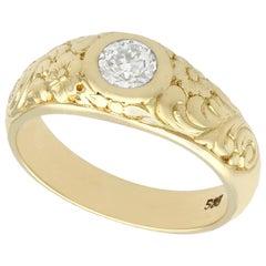 0.42 Carat Diamond and 14 Karat Yellow Gold Solitaire Ring, Antique, circa 1930