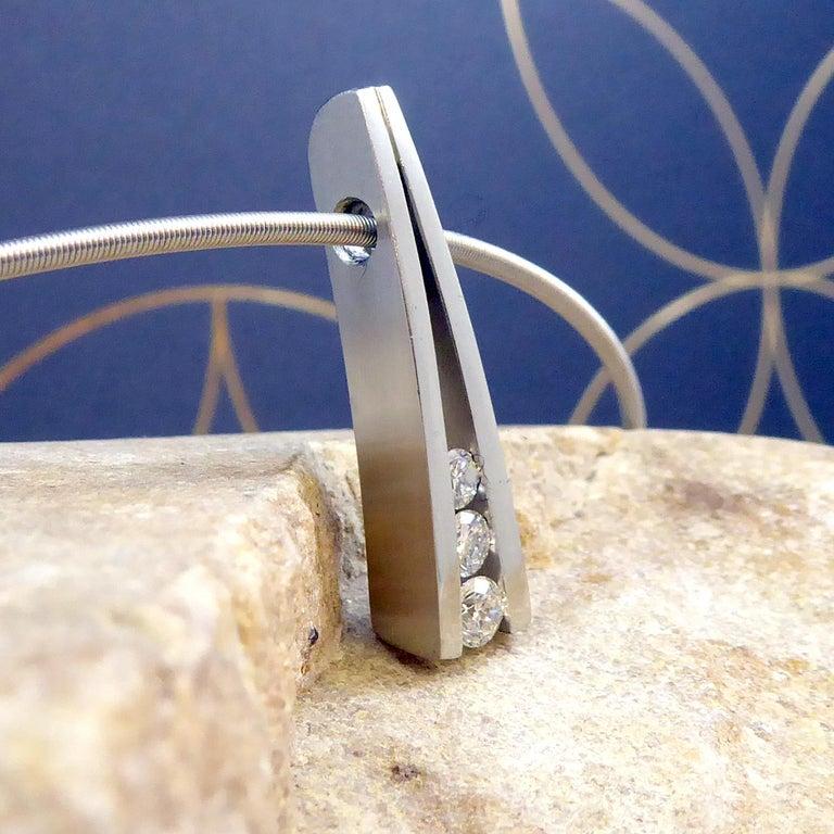 Women's 0.42 Carat Diamond Pendant, Contemporary Design on Platinum Cable For Sale