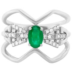 0.42 Carat Oval Emerald and Diamond Ring 14 Karat White Gold