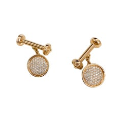 0.42 Carat Pave Diamond Cufflinks in 18 Karat Rose Gold