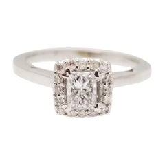 0.42 Carat Princess Shaped Diamond White Gold Ring 14k