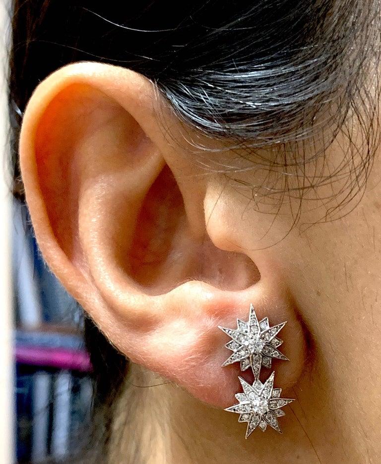 Round Cut 0.42 Carat Star Diamond Earrings For Sale