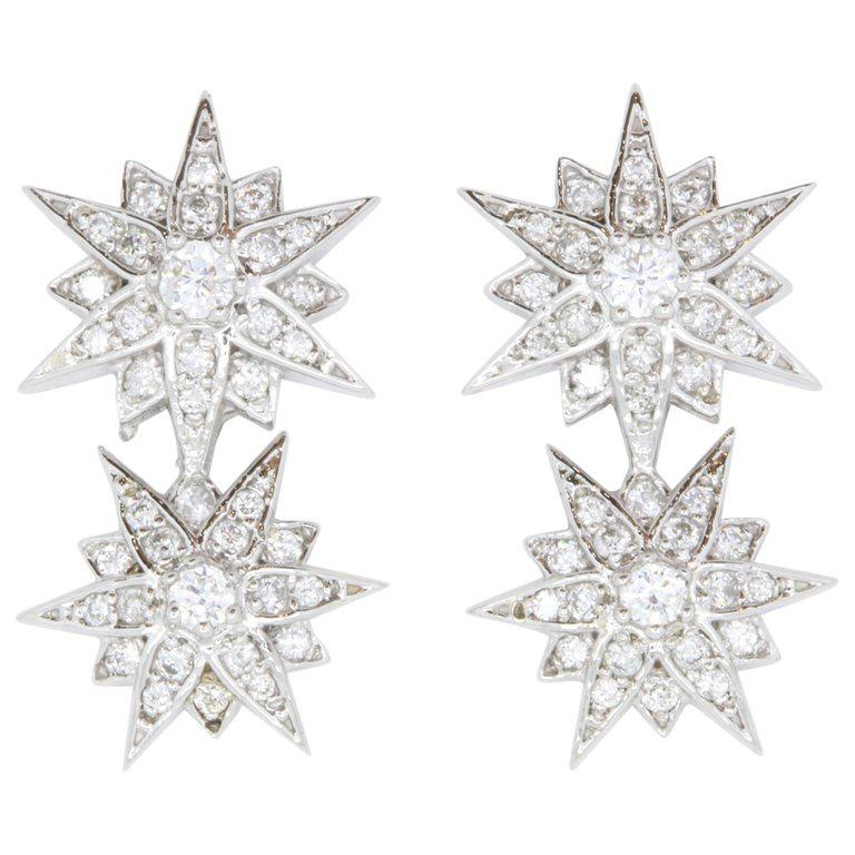 0.42 Carat Star Diamond Earrings For Sale