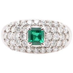 0.428 Carat Colombian Emerald and Diamond Cocktail Ring Set in Platinum