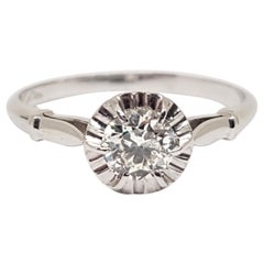 0.43 Carat Antique White Gold Diamond Engagement Ring