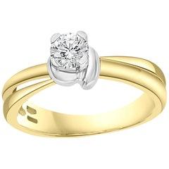 0.43 Carat Center Diamond Engagement 18 Karat Gold Ring by Designer Salvini