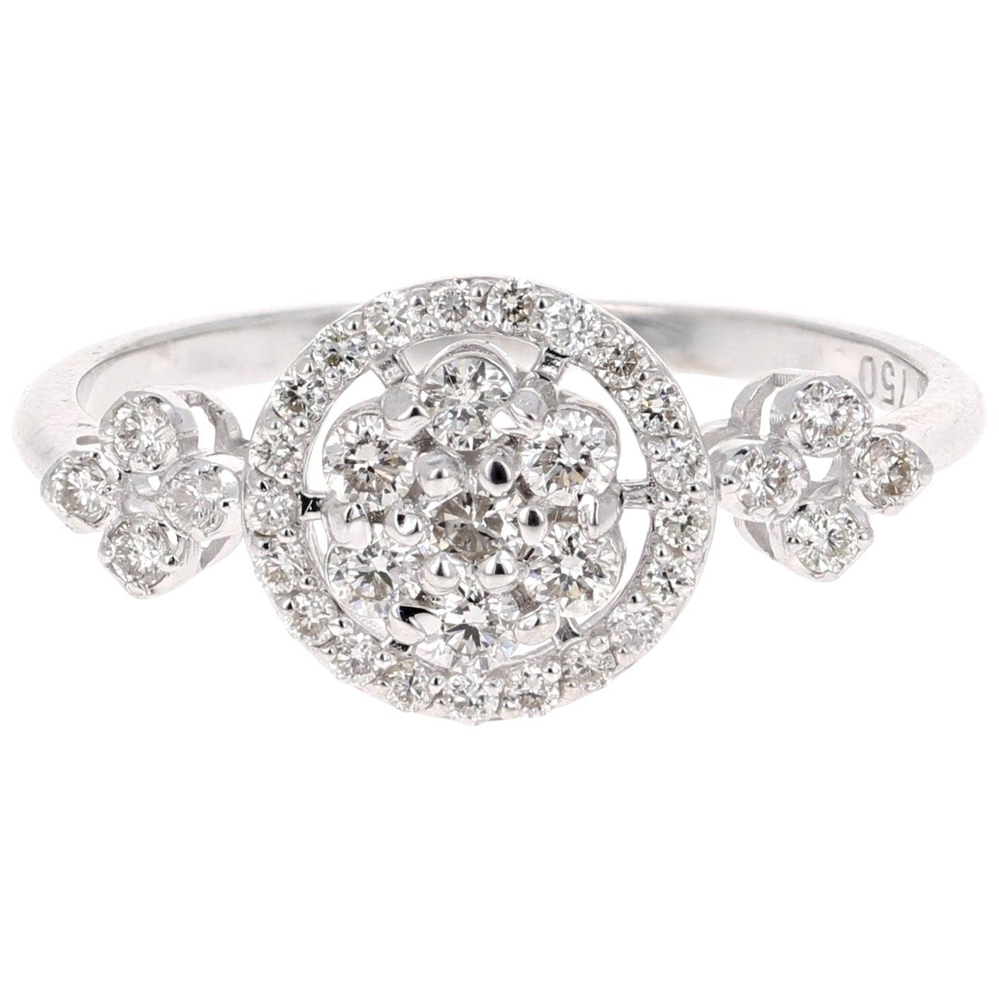 0.43 Carat Cluster Diamond 18 Karat White Gold Ring