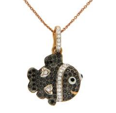 0.43 Carat Diamond 18 Karat Gold Fish Pendant with 14 Karat Gold Chain Necklace