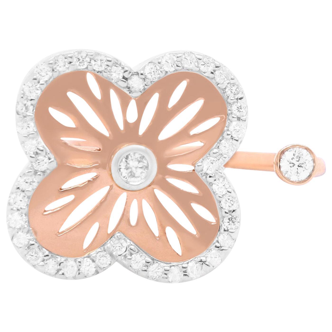 Rose Gold Diamond Flower Clover Open Shank Toi et Moi Ring 14K Rose Gold