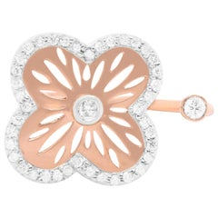 Rose Gold Diamond Flower Clover Open Shank Toi et Moi Ring 14K Rose Gold