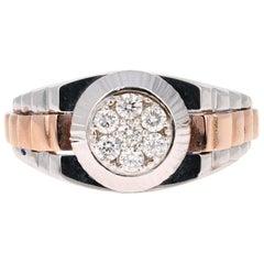 0.43 Carat Round Cut Diamond Men's Wedding Ring 14 Karat White Gold