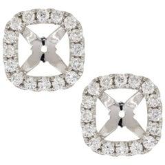0.43 Carat Round Diamond Stud Earring Jackets 18 Karat in Stock