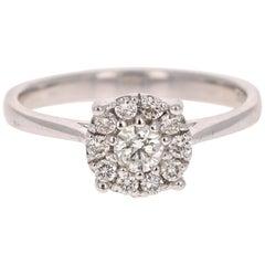 0.43 Carat Round Invisible Diamond 14 Karat White Gold Engagement Ring