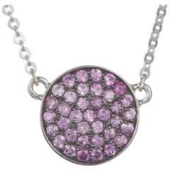 0.43 Carat Round Pink Sapphire Disc Pave Pendant 14 Karat Gold Black Rhodium