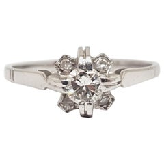 0.44 Carat Antique White Gold Diamond Engagement Ring