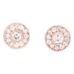 0.44 Carat Diamond 14 Karat Rose Gold Earrings