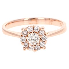 0.44 Carat Diamond 14 Karat Rose Gold Ring
