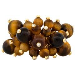 0.44 Carat Diamond Tiger's Eye Bead Ring 18 Karat in Stock