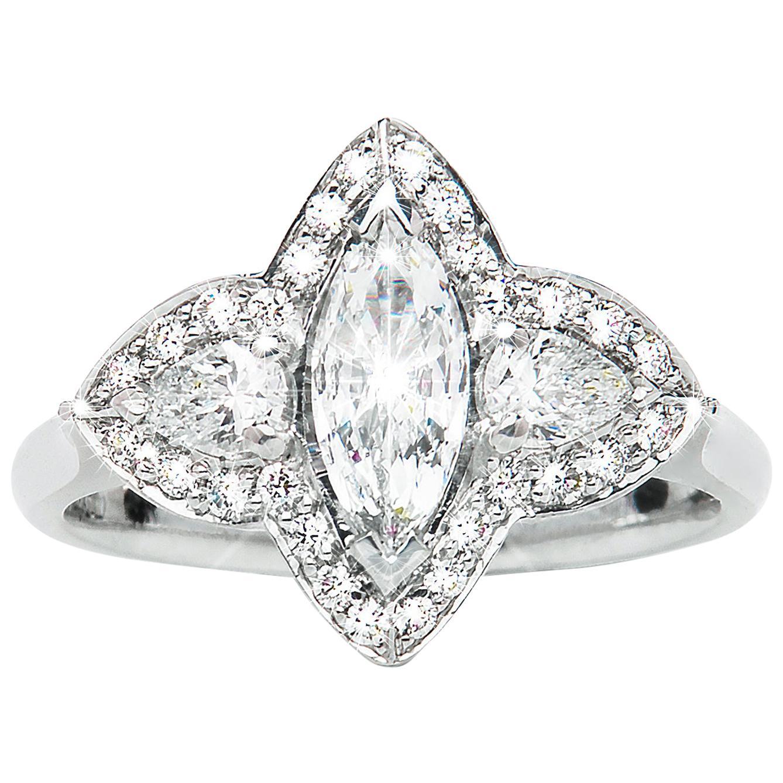 0.44 Carat Marquise Pear Diamond Three-Stone Cluster Ring Natalie Barney