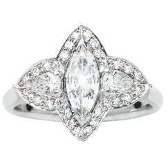 0.44 Carat Marquise Pear Diamond Three-Stone Cluster Ring Natalie Barney