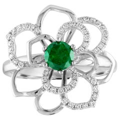 0.44 Carat Round Emerald Diamond Gold Flower Ring