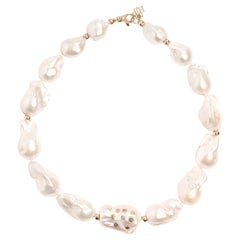 0.44 Carat Salt and Pepper Diamond Large Baroque Pearl Strand Necklace