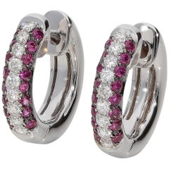 0.44 Rubies 0.28 White GVS Diamonds 18 Karat White Gold Small Hoop Earrings