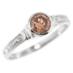 0.45 Carat Brown Diamond in Custom 18 Karat Cassandra Ring