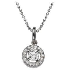 0.45 Carat Classic Halo Round Diamond Pendant Necklace, 14 Karat White Gold