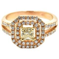 0.45 Carat Fancy Yellow Diamond Engagement Ring 18 Karat Rose Gold