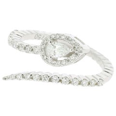 0.45 Carat GVS Snake Ring 18 Karat White Gold Pear/Round Diamonds Cocktail Ring