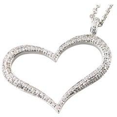 0.45 Carat Heart Pendant with Pavé Set Diamonds in 14 Karat White Gold