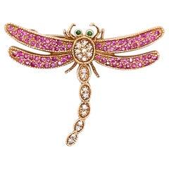 0.45 Carat Pink Sapphire, Diamond & Tsavorite Dragon Fly Pin 14 Karat Yellow