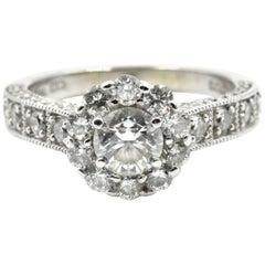 0.45 Carat Round Diamond Halo Engagement Ring 14 Karat White Gold