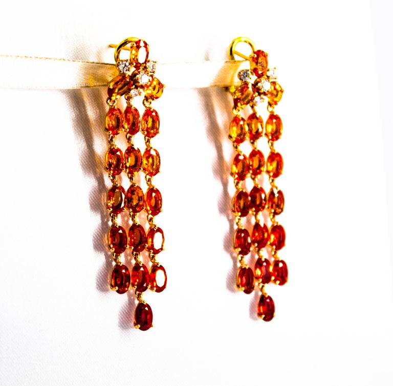 Women's or Men's 0.45 Carat White Diamond 21.30 Carat Yellow Sapphire Yellow Gold Drop Earrings For Sale