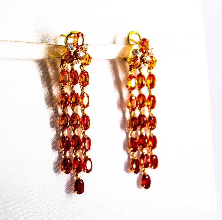 0.45 Carat White Diamond 21.30 Carat Yellow Sapphire Yellow Gold Drop Earrings For Sale 2