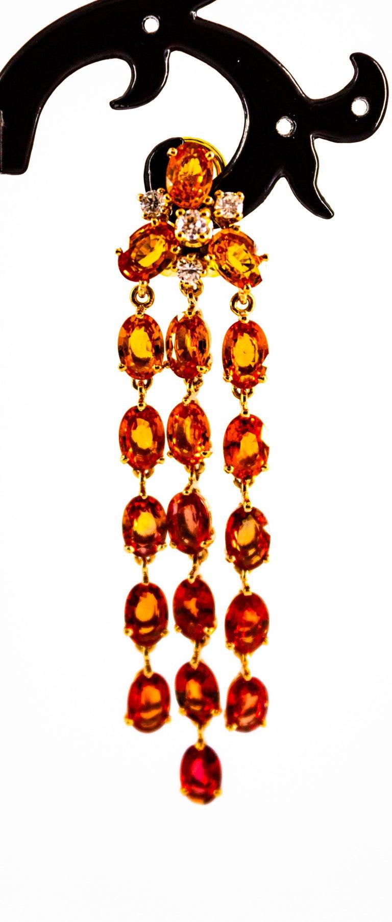 0.45 Carat White Diamond 21.30 Carat Yellow Sapphire Yellow Gold Drop Earrings For Sale 3